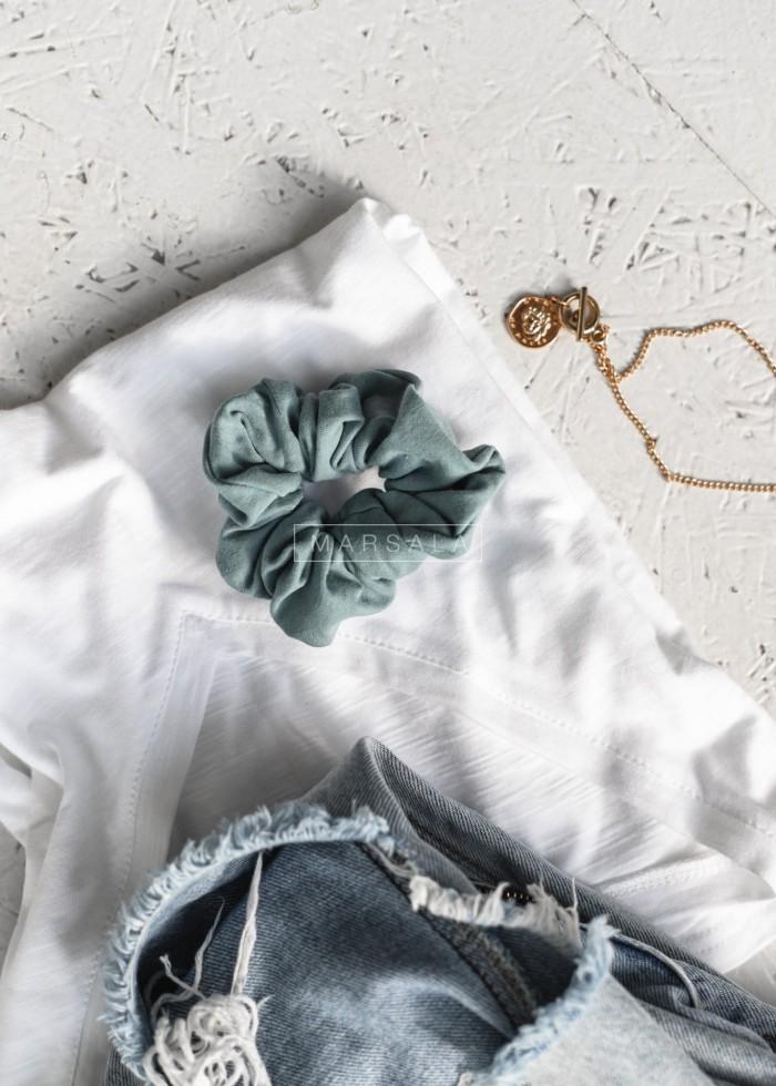 Gumka/frotka do włosów gładka w kolorze morskiej zieleni- LORI by Marsala