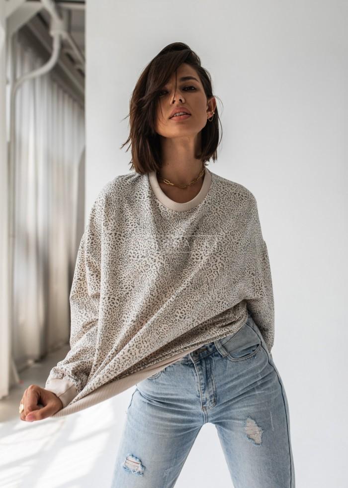 Bluza damska bez kaptura z nadrukiem w cętki - YOUNG by Marsala