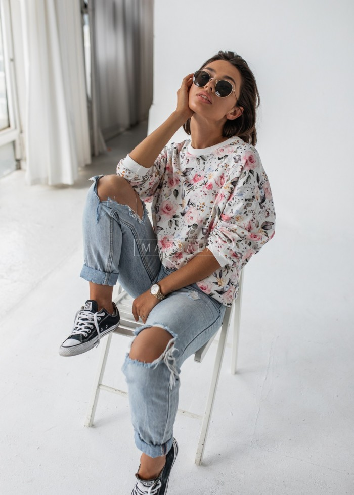 Bluza damska bez kaptura z nadrukiem w kwiaty - YOUNG by Marsala