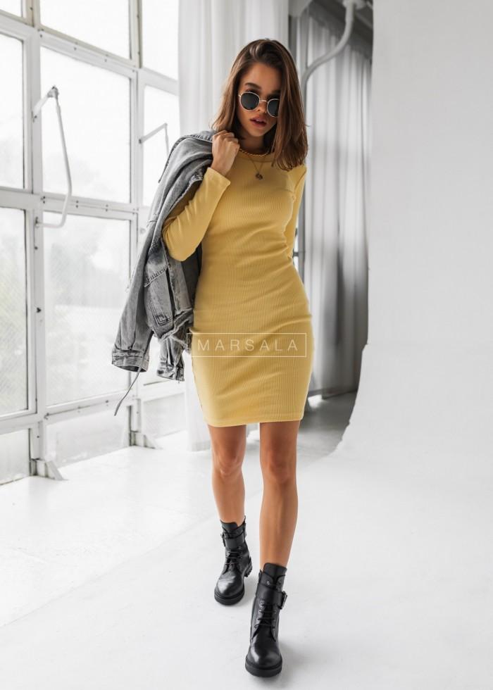 Sukienka dopasowana z długim rękawem w kolorze bananowym - KYLIE by Marsala