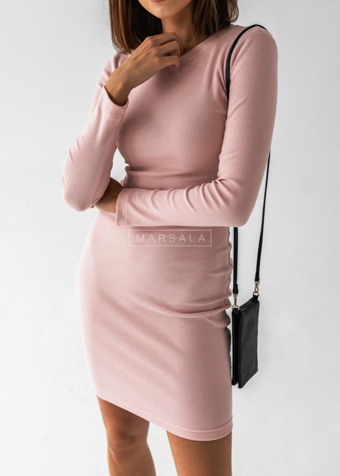 Sukienka dopasowana z długim rękawem w kolorze pudrowy róż - KYLIE by Marsala