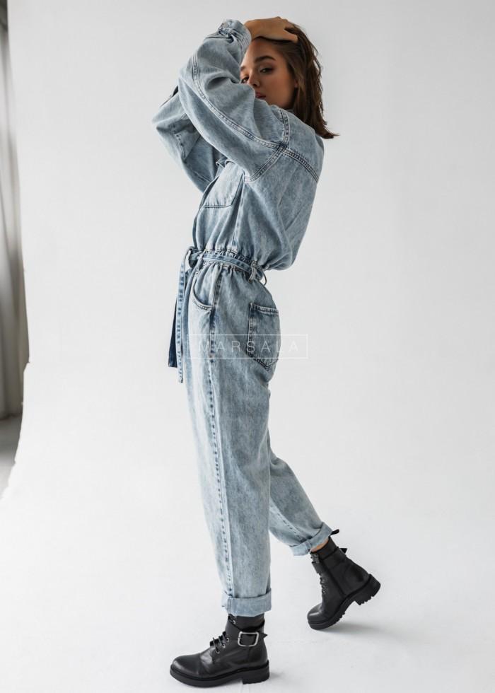 Długi kombinezon light blue jeans z wiązaniem - BLUE SKY