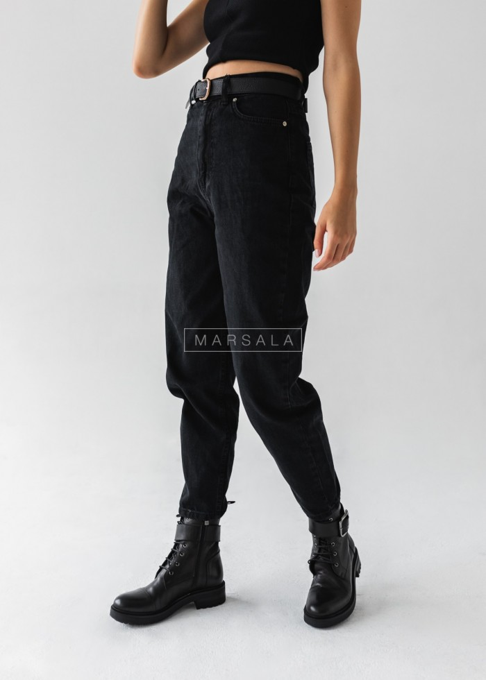 Spodnie typu balloon fit z czarnego jeansu - BACKGROUND