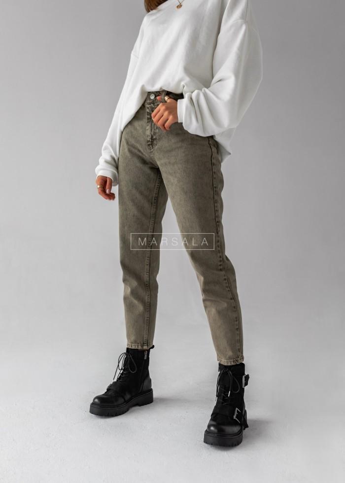 Spodnie jeansowe mom fit w kolorze khaki - ROGER