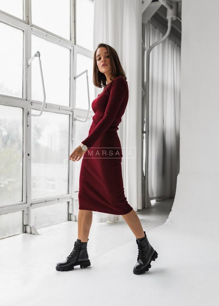 Dopasowana sukienka midi w kolorze bordo - KYLIE MIDI by Marsala