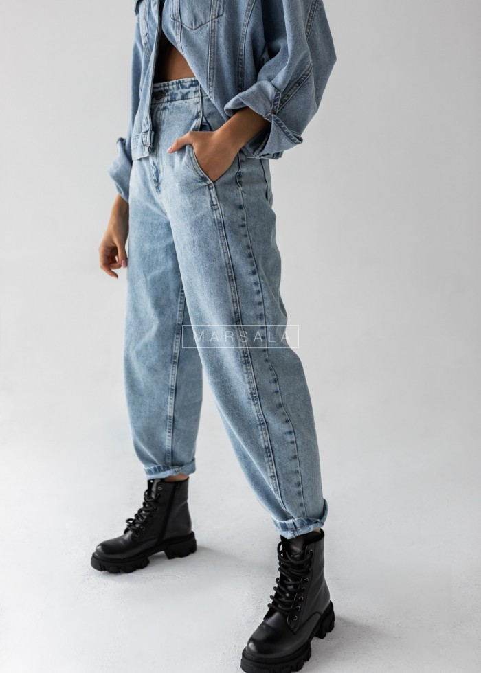 Spodnie jeansowe jasne typu slouchy z przeszyciami- SALT BLUE