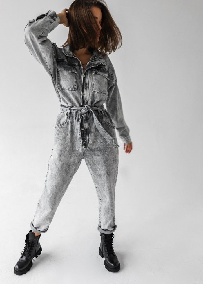 Długi kombinezon light grey jeans z wiązaniem - GREY SKY