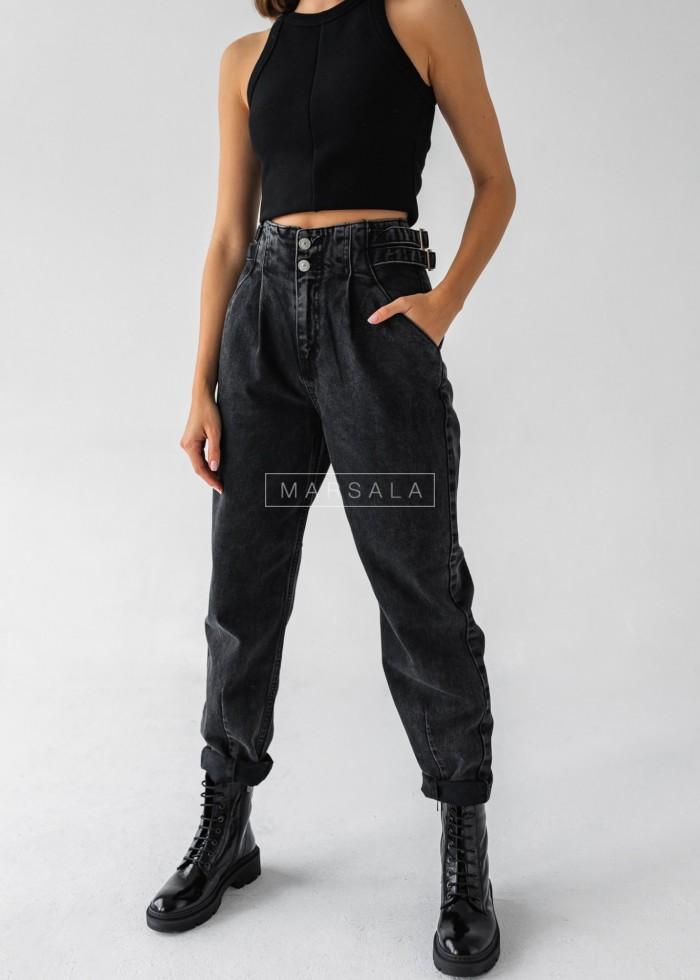Spodnie typu slouchy z czarnego jeansu - DARK SIDE