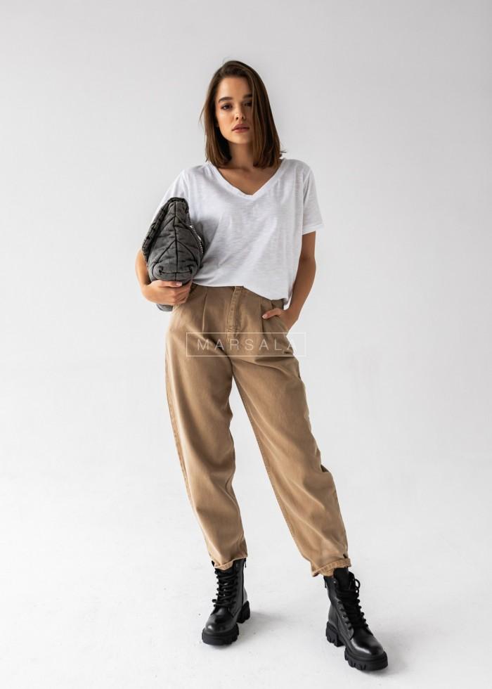 Spodnie typu slouchy z jeansu w kolorze beżowym - DENIM SAND