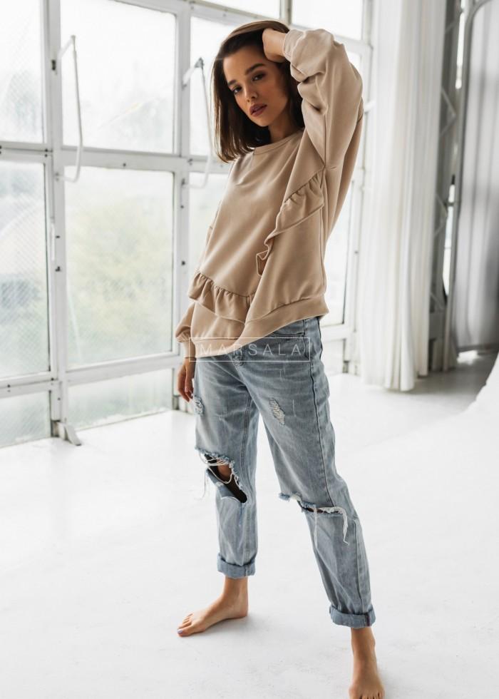 Bluza damska oversize z falbanką na dole beżowa - ANGEL by Marsala