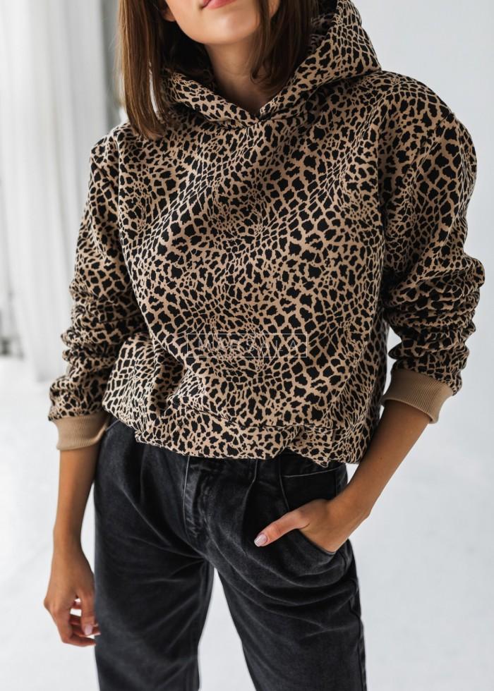 Bluza BASIC BY MARSALA z kapturem ze zwierzęcym printem GO WILD