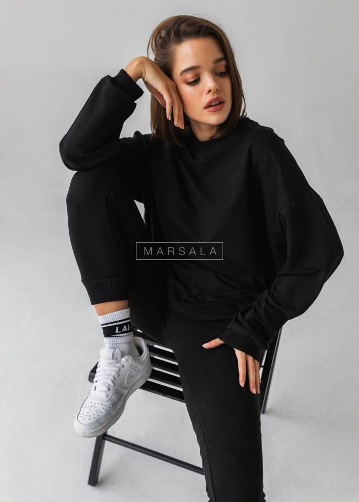 Bluza damska bez kaptura kolor czarny - YOUNG by Marsala