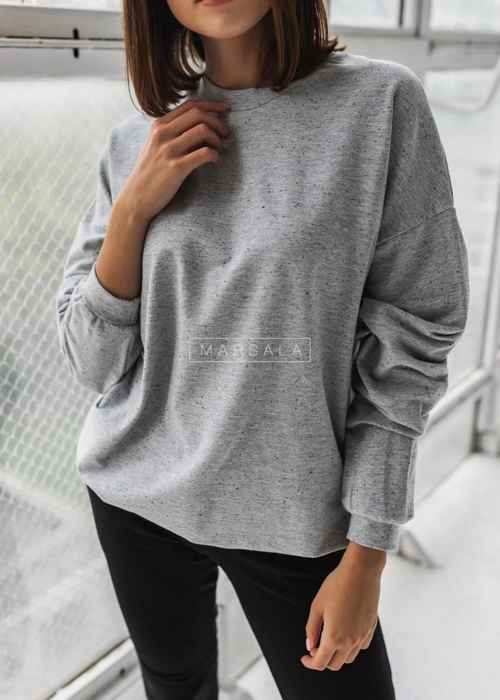 Bluza damska bez kaptura kolor szary melanż nakrapiany - YOUNG by Marsala