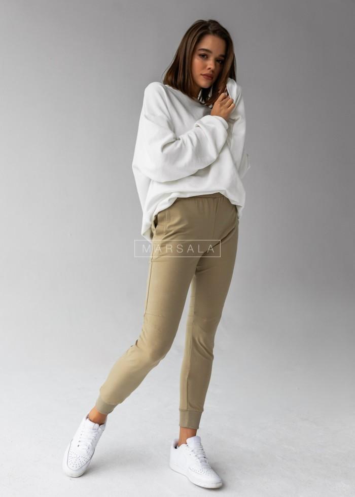 Spodnie dresowe z przeszyciami w kolorze oliwkowym SLENDER by Marsala