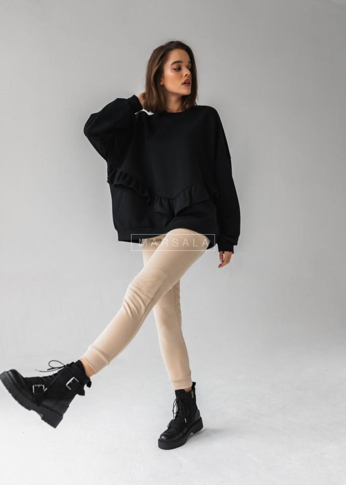 Bluza damska oversize z falbanką na dole czarna - ANGEL by Marsala
