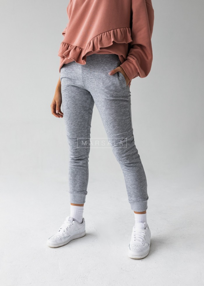 Grey tracksuit bottoms with stitching - SIMON by Marsala