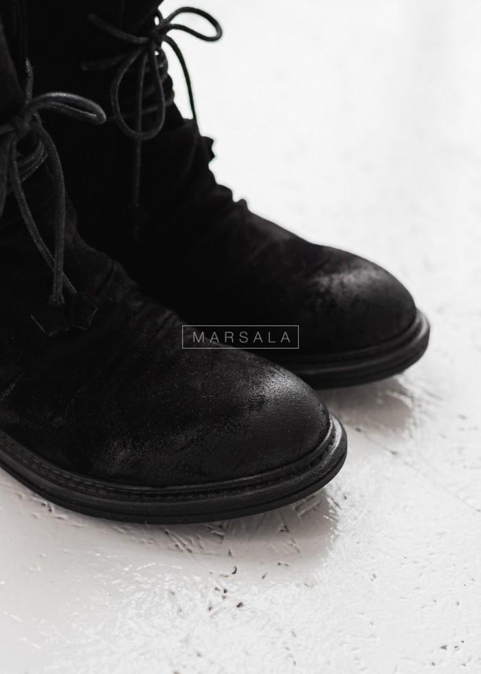 Botki sznurowane czarny welur RUNWAY Marsala x Badura