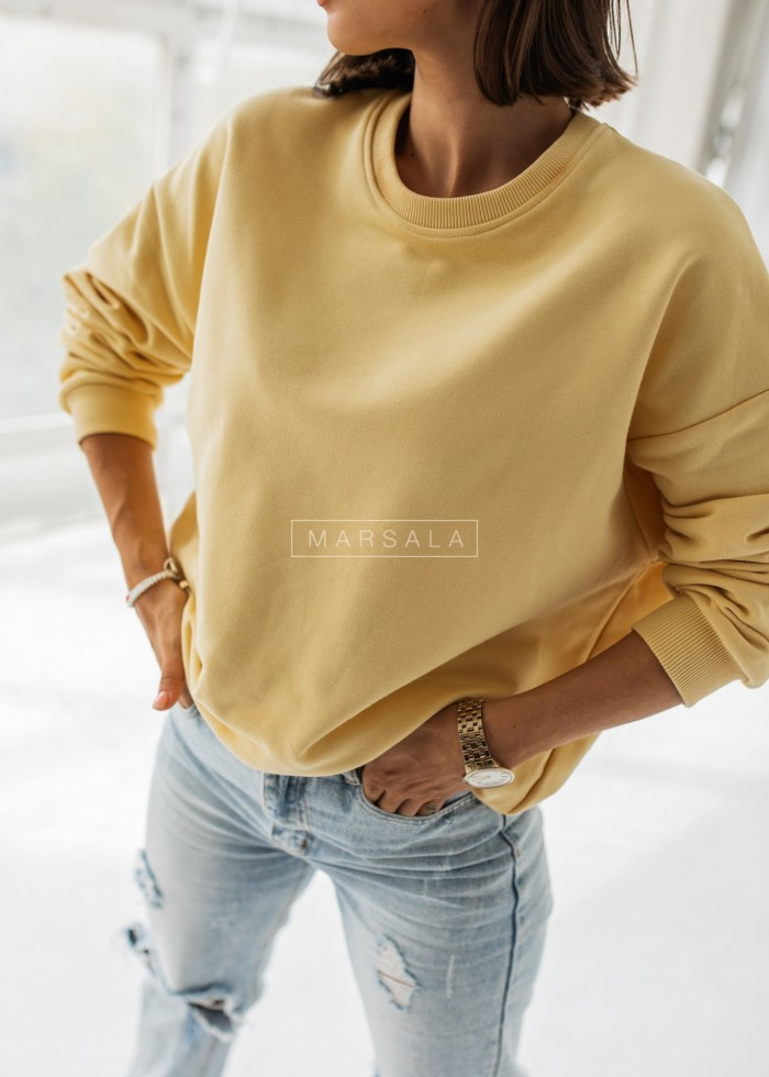 Bluza damska bez kaptura kolor bananowy - YOUNG by Marsala