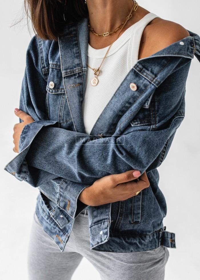 Katana jeansowa w kolorze dark blue z aplikacją na plecach - Mickey
