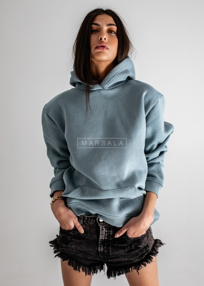 BASIC BY MARSALA hooded sweatshirt in ocean blue