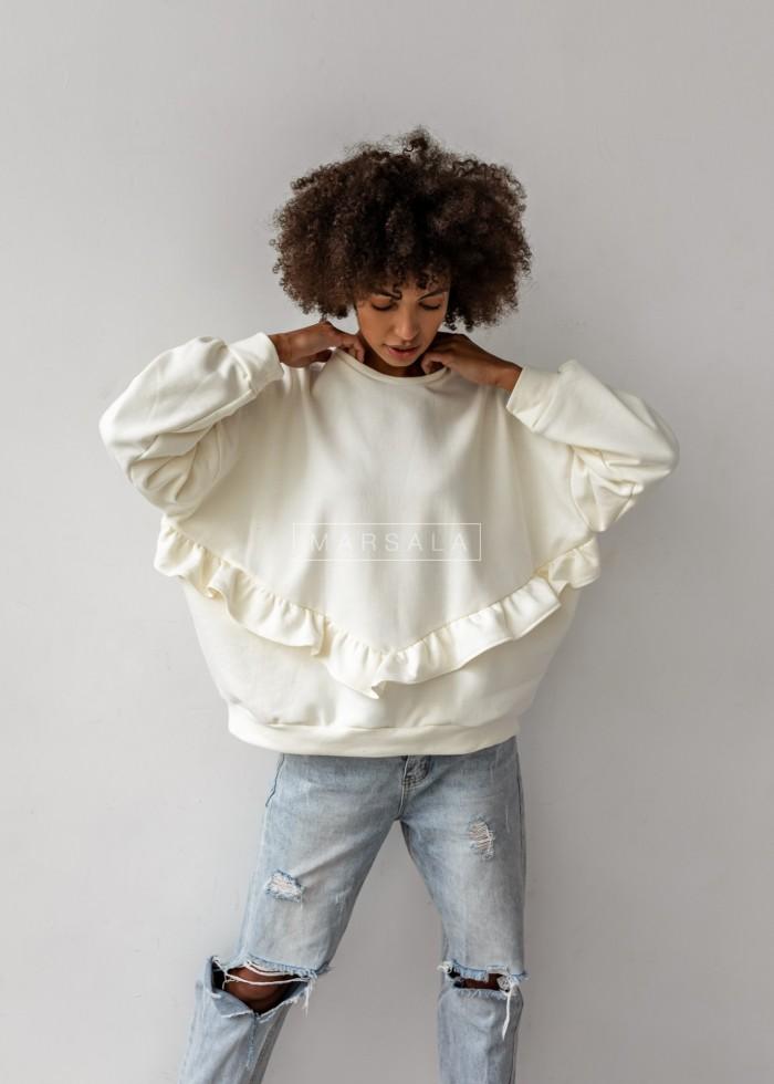 Bluza damska oversize z falbanką na dole ecru - ANGEL by Marsala