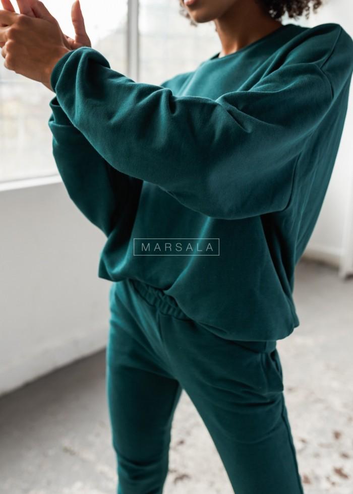 Bluza damska bez kaptura kolor butelkowa zieleń - YOUNG by Marsala