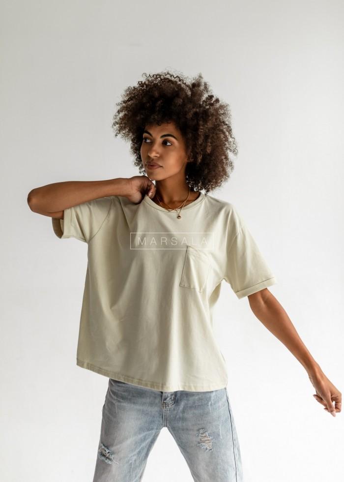 T-shirt damski z kieszonką w kolorze CANNOLI CREAM - SPLIT BY MARSALA