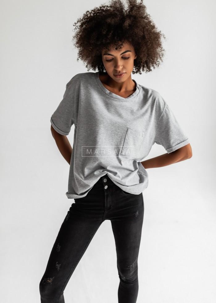 T-shirt damski w kolorze szary melanż z kieszonką SPLIT GREY BY MARSALA