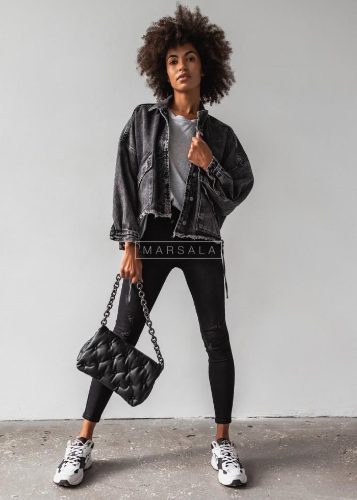 Kurtka jeansowa w kolorze czarnym z surowym wykończeniem - BLACK HOLLY