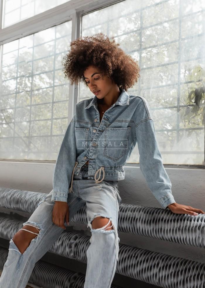 Kurtka jeansowa krótka ze sznurkiem na dole - PUERTO BLUE