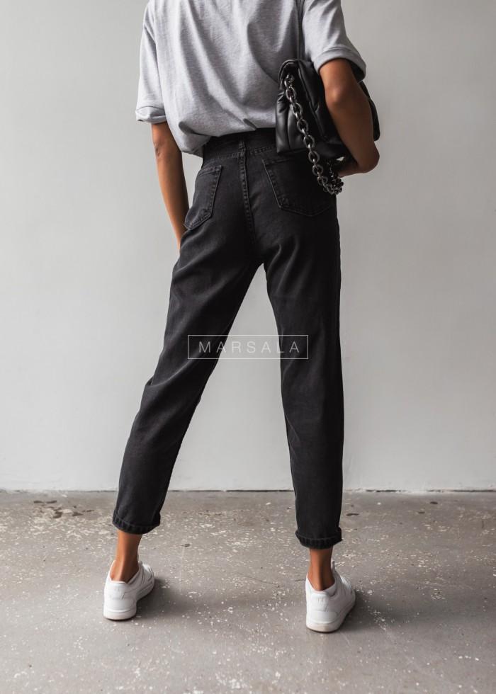 Spodnie typu mom fit gładkie z czarnego jeansu - TWINS BLACK