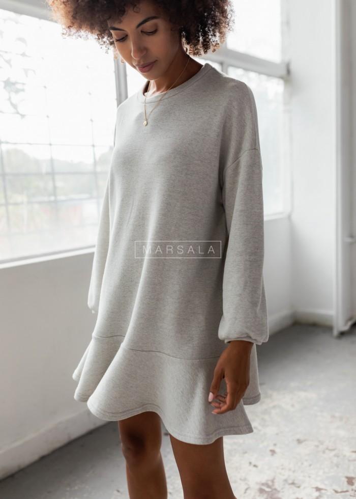 Sukienka typu basic z długim rękawem i falbaną kolor szary melanż - CASEY by Marsala