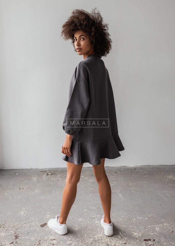 Sukienka typu basic z długim rękawem i falbaną kolor grafit - CASEY by Marsala
