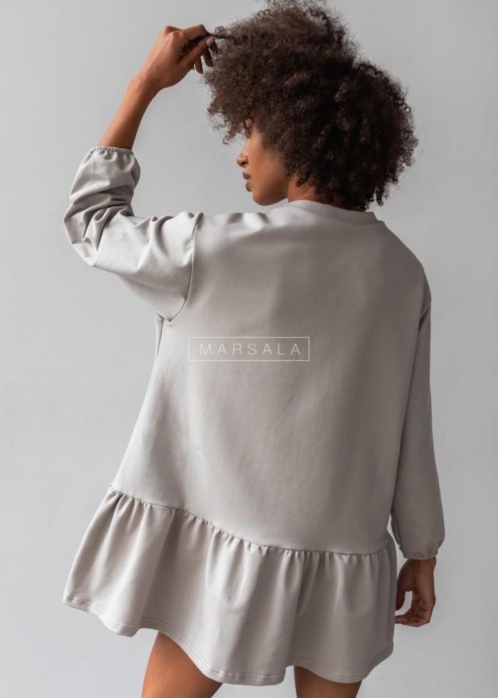 Sukienka z dzianiny dresowej z falbanką kolor szary- ALLISON by Marsala