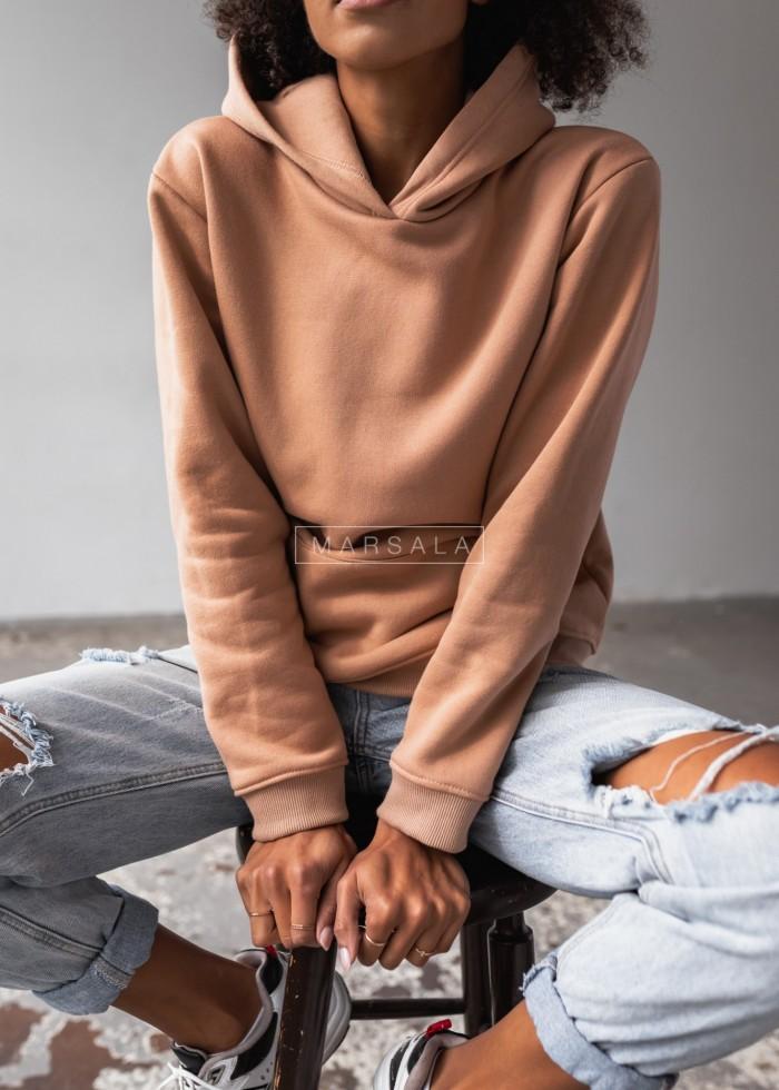 Bluza BASIC BY MARSALA z kapturem w kolorze BISCUIT