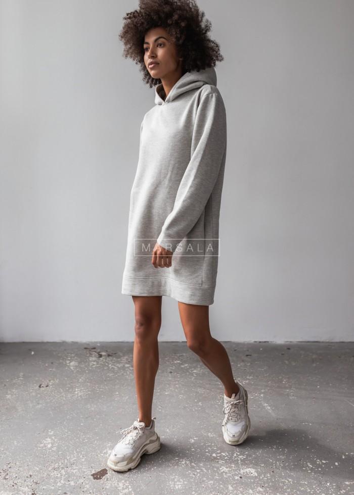Długa bluza o kroju oversize w kolorze jasnoszarym z kieszeniami - COMFY by Marsala