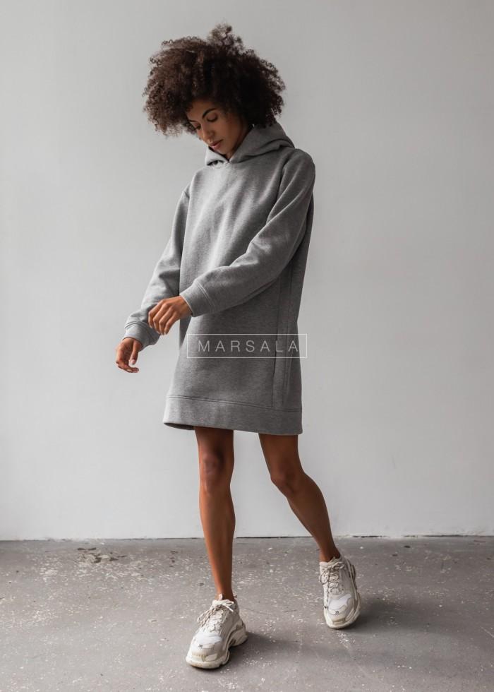 Długa bluza o kroju oversize w kolorze ciemnoszarym z kieszeniami - COMFY by Marsala