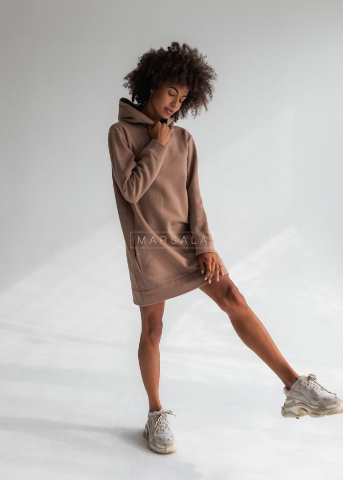Długa bluza o kroju oversize w kolorze mocca z kieszeniami - COMFY by Marsala
