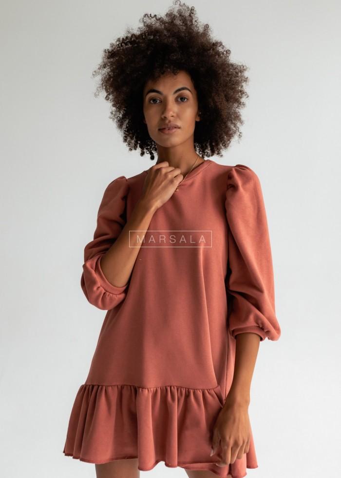 Sukienka dresowa z bufkami i falbanką na dole ceglana - SALLY by Marsala