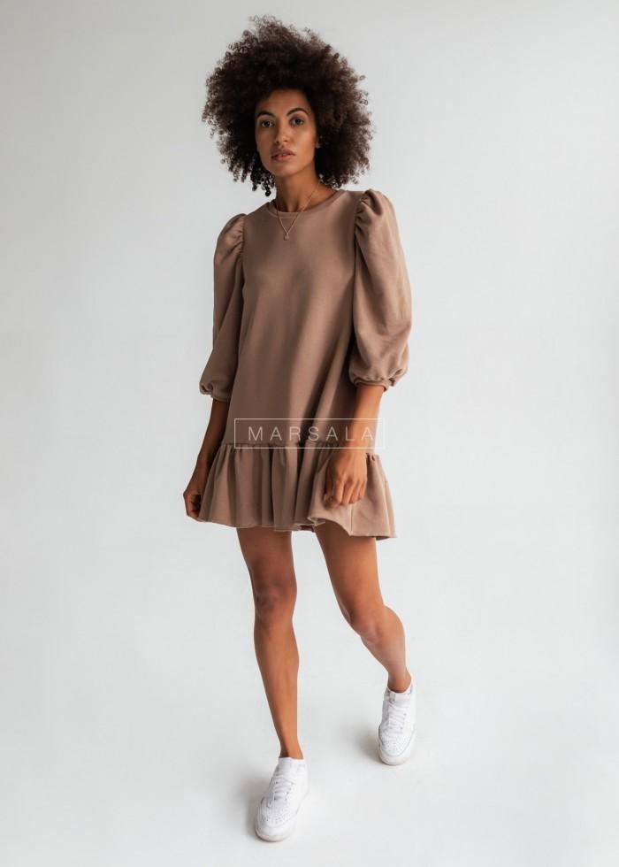 Sukienka dresowa z bufkami i falbanką na dole mocca - SALLY by Marsala