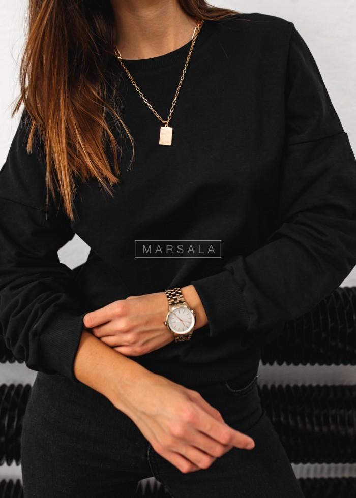 Bluza damska typu regular fit z wycięciem na plecach czarna - BROOKLYN by Marsala
