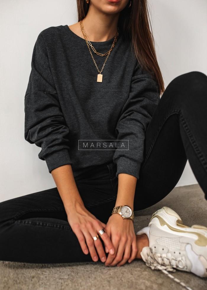 Bluza damska typu regular fit z wycięciem na plecach grafitowa - BROOKLYN by Marsala