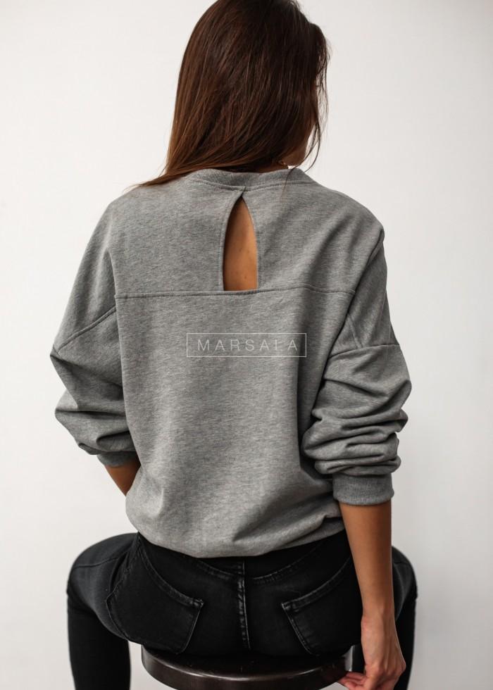 Bluza damska typu regular fit z wycięciem na plecach szara - BROOKLYN by Marsala