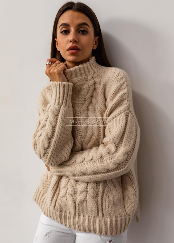 Gruby sweter z mięsistej włóczki z ozdobnym splotem ecru - SHANTI by Marsala