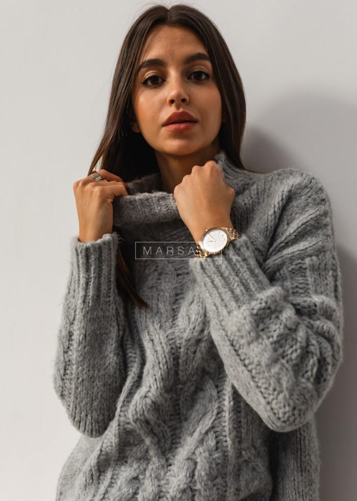 Gruby sweter z mięsistej włóczki z ozdobnym splotem szary - SHANTI by Marsala