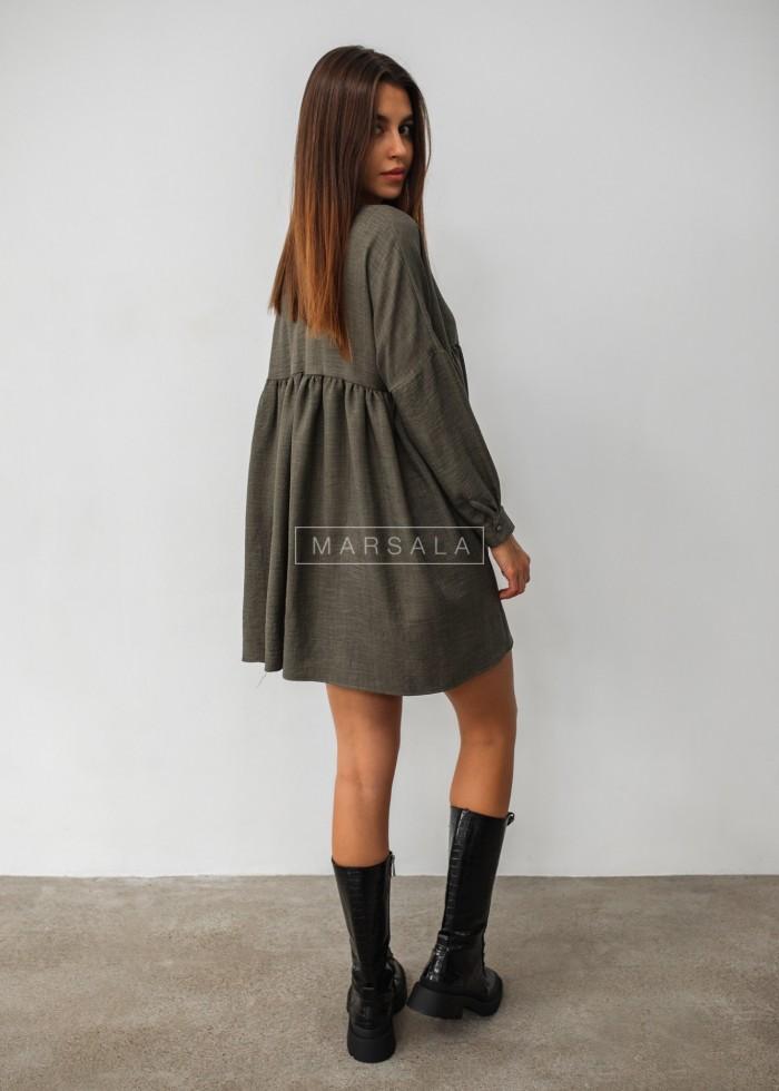 Sukienka oversize z odcięciem pod biustem i dekoltem V khaki PASO BY MARSALA