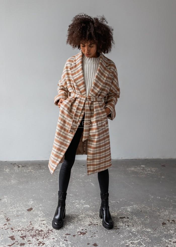 Długi płaszcz typu oversize z wiązaniem duża krata beż-kamel NEW YORK by Marsala
