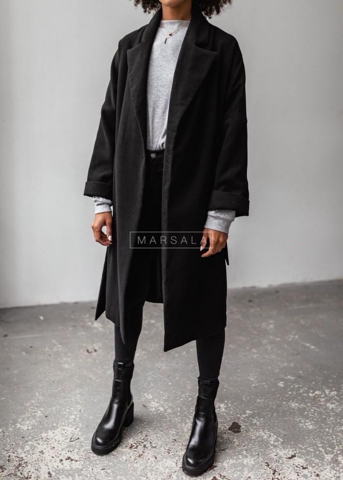 Długi płaszcz typu oversize z wiązaniem czarny NEW YORK by Marsala