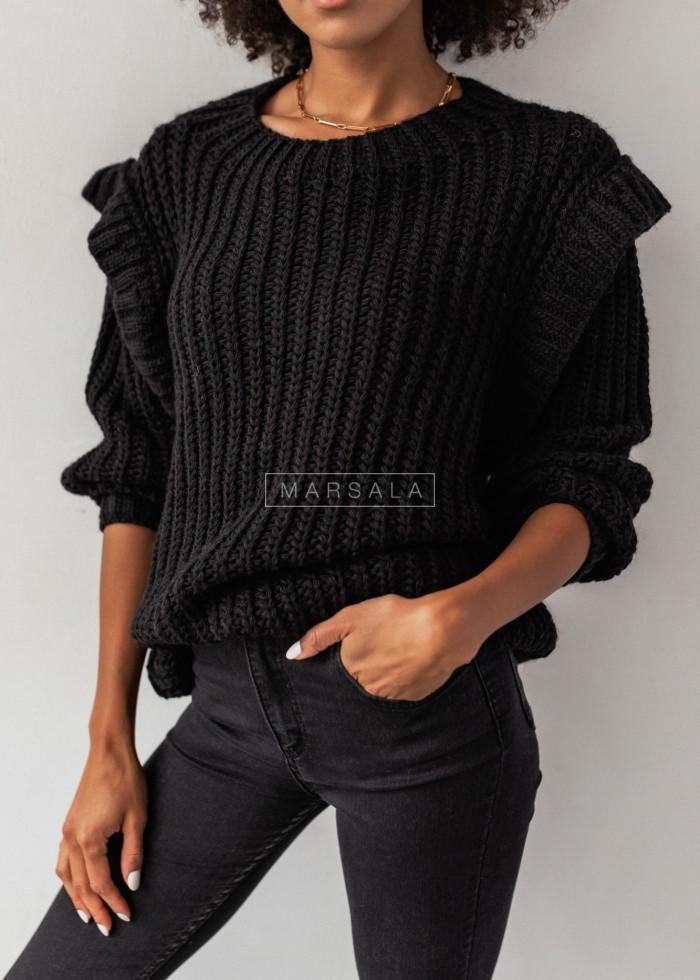 Sweter typu oversize z pagonami czarny - CAMBRIDGE by Marsala