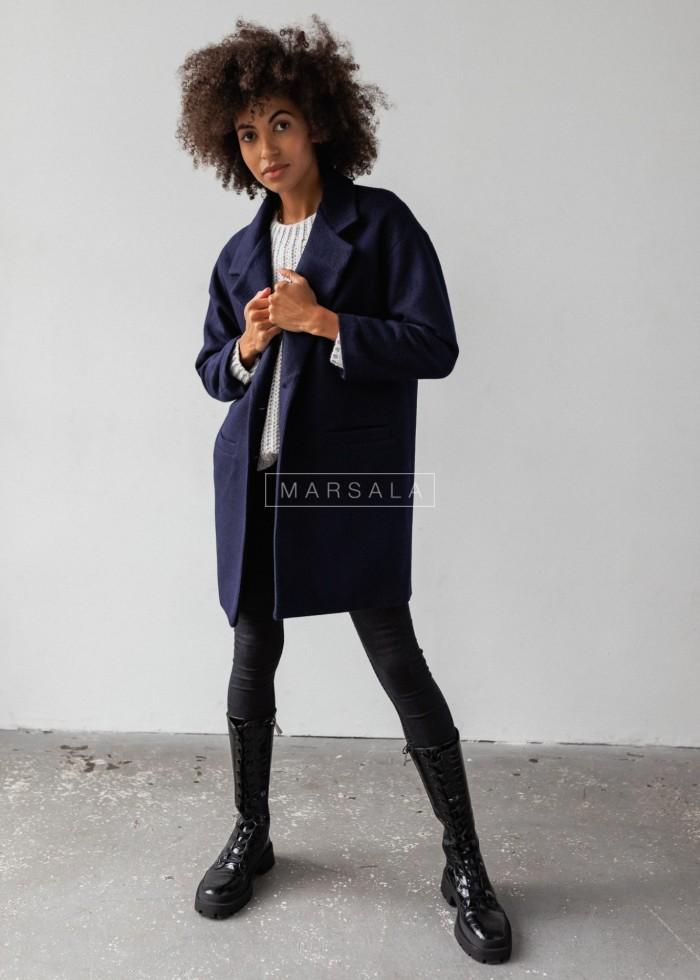 Płaszcz jesienno - zimowy w kolorze granatowym - DENVER by Marsala